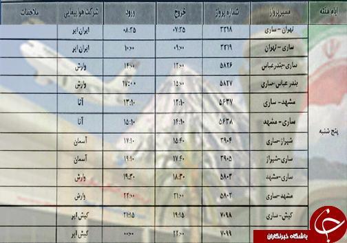 پرواز های پنج شنبه 25 مهرماه فرودگاه های مازندران