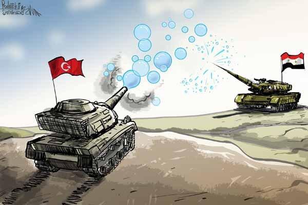 کاریکاتور، حبابهای توخالی که نمی تواند مانع حرکت ارتش سوریه گردد